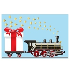 Steam locomotive with gifts vector