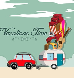 Vacation time with car full of luggages vector