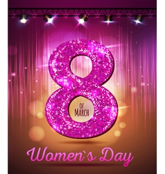 March 8 greeting card background of womens day vector