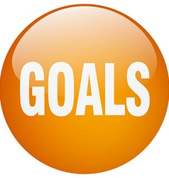 Goals orange round gel isolated push button vector