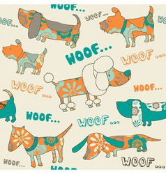 Cute dogs pattern vector