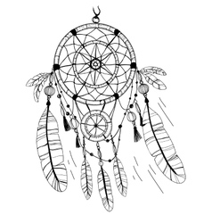 Dreamcatcher feathers and beads coloring page vector