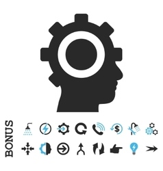 Cyborg gear flat icon with bonus vector