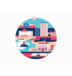 City with houses and a park vector image