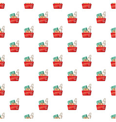Basket of shopping bags pattern vector