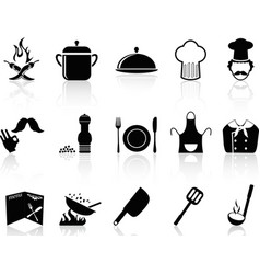 black chef icons set vector image vector image