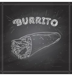 Burrito scetch on a black board vector