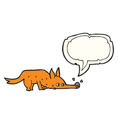 cartoon fox sniffing floor with speech bubble vector image vector image
