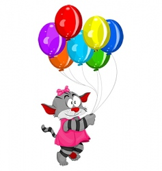 cartoon kitten with balloons vector image vector image