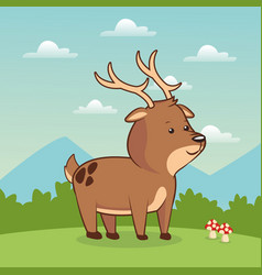 Cute deer animal baby with landscape vector
