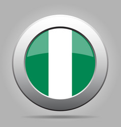 Flag of nigeria shiny metal gray round button vector