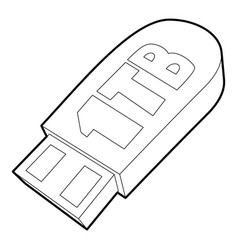 Flash drive icon outline style vector