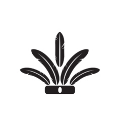 Flat icon in black and white indian feathers vector