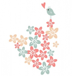 flower and bird vector image vector image