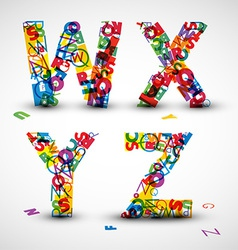 font made from letters of the alphabet vector image vector image