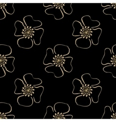 Golden luxury flower pattern on dark background vector