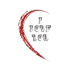 half heart with I love you vector image vector image