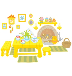 Kitchen of a rural house vector