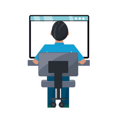 Man on internet vector