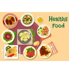 Meat and salad dishes icon for healthy food design vector