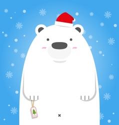 Merry christmas white polar bear wear santa hat vector