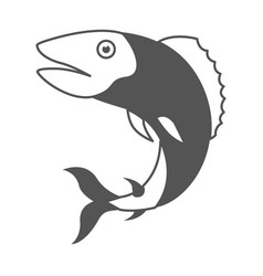 Monochrome silhouette of trout fish vector