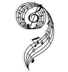 Musical curly elements with clef and notes vector image