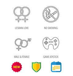 no smoking couple and game joystick vector image
