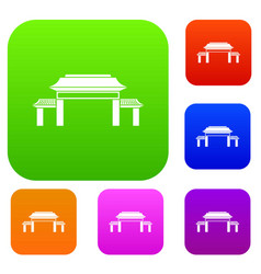pagoda set collection vector image
