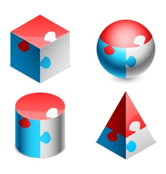Puzzle figures vector image