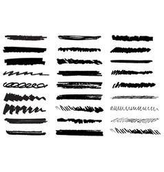 set of black grunge brush strokes Black vector image