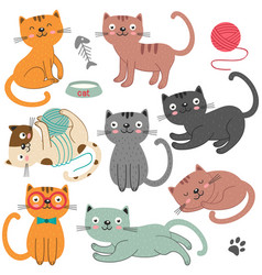 Set of of isolated cats character vector