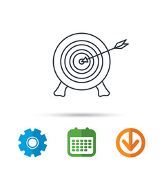 Target with arrow icon archery aiming sign vector