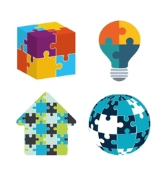 teamwork support puzzle set design vector image vector image