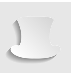 Top hat sign paper style icon vector