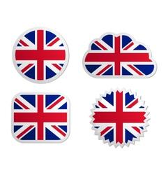 United Kingdom flag labels vector image