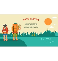 vintage background with backpackers forest vector image