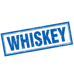 Whiskey blue square grunge stamp on white vector