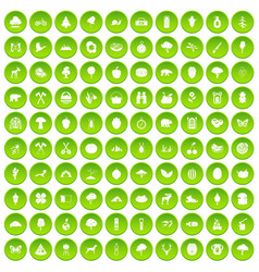 100 camping and nature icons set green circle vector