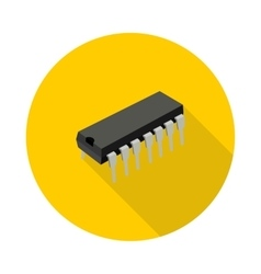 Flat icon microchip vector