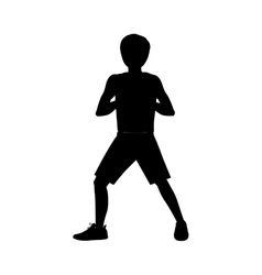 Silhouette man martial arts front defense position vector
