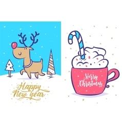 Funny new year set Christmas greeting card vector image