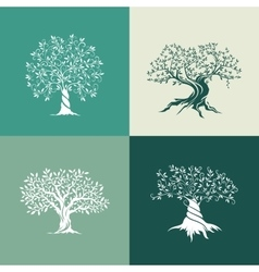 Olive trees silhouette icon set isolated on green vector