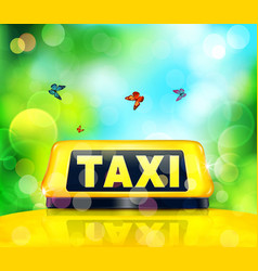 Yellow taxi sign on the car vector