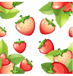 Seamless background with fresh strawberries vector