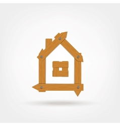 Wooden boards house symbol vector