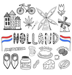 Doodle hand drawn collection of holland icons vector