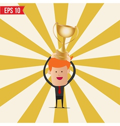 Cartoon business man hold winner cup - - eps vector