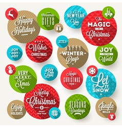 Set of round frames with christmas greeting vector