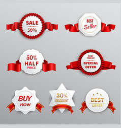 Red paper sale labels vector